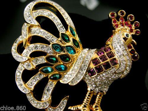 Signed Swarovski Pave' Crystal Rooster Pin Brooch 22kt Gold Plating RARE | eBay