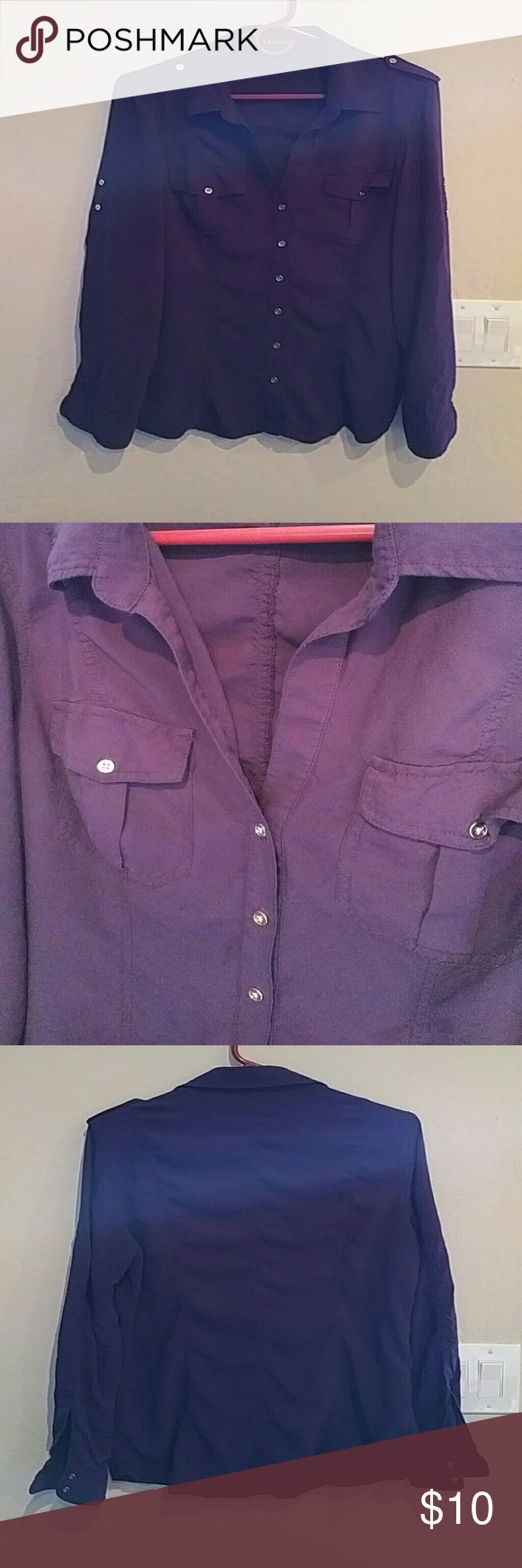 Express purple button up blouse Button up blouse with roll up sleeves and 2 front pockets. Express Tops Button Down Shirts