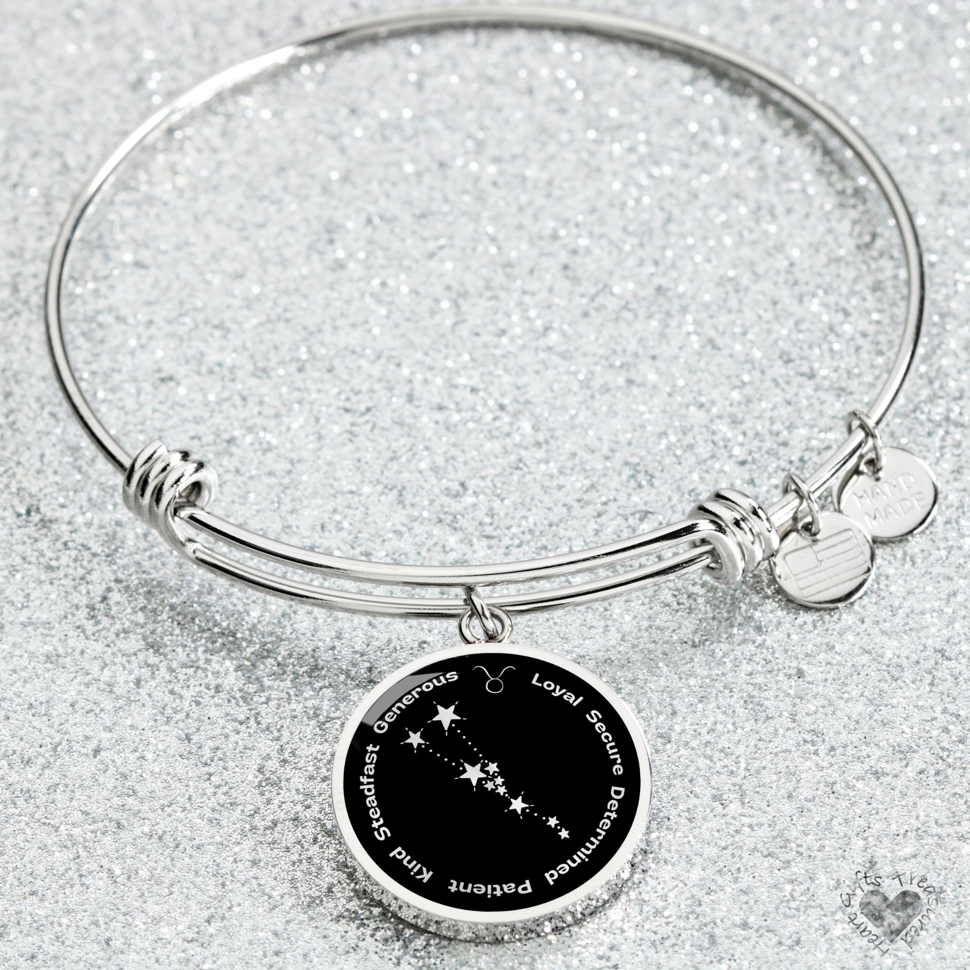 Taurus Zodiac Sign Bracelet - Luxury Bangle (Silver) / No