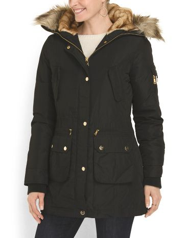 8a68210f2ecd3 Coated Parka With Faux Fur - Coats & Jackets - T.J.Maxx | Sweater ...