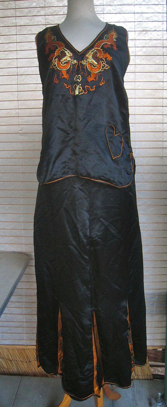 RARE 20s 30s Silk DRAGON Lounge Pajamas WIDE Legs by Flipsville ... 24d4a6549