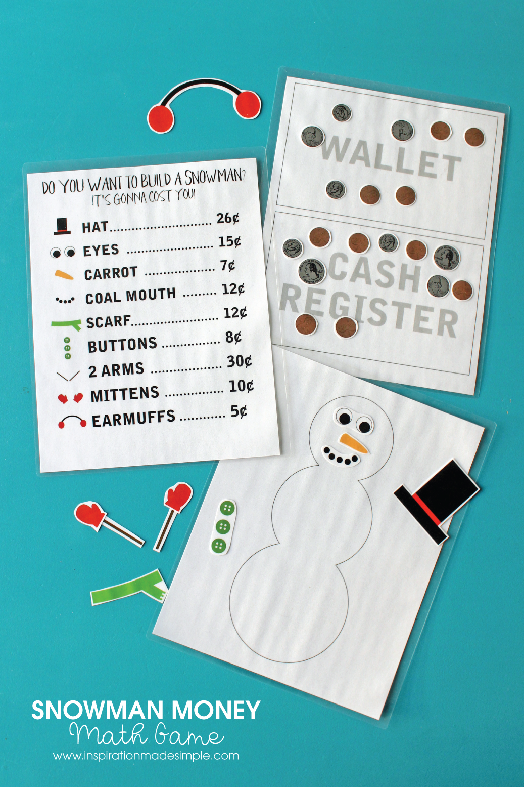 Snowman Money Math Game - great learning game for children learning US Currency