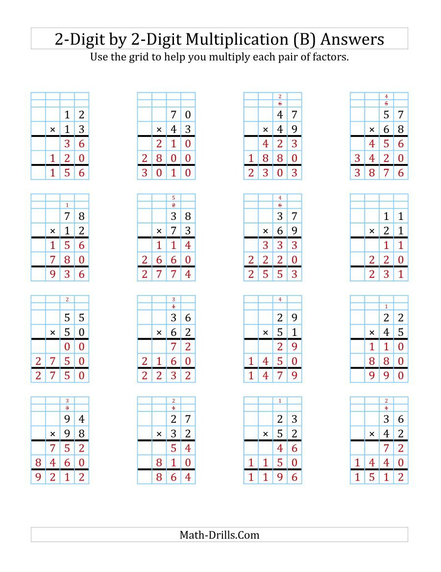 The 2 Digit By 2 Digit Multiplication With Grid Support B Math Worksheet Page 2 Multiplication Multiplication Worksheets Printable Math Worksheets
