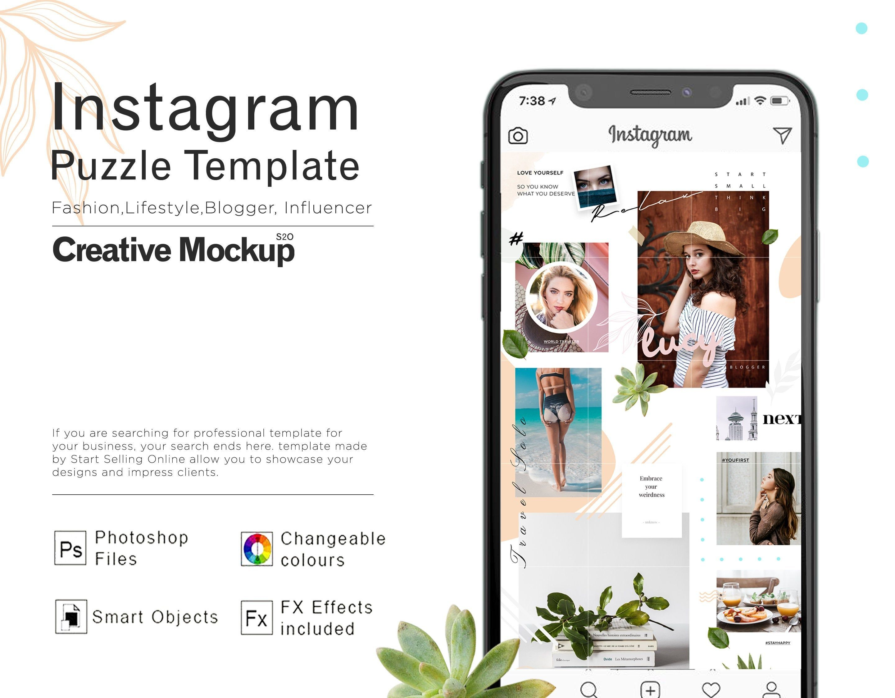 Instagram Puzzle Template Multipurpose Use Psd File Easily