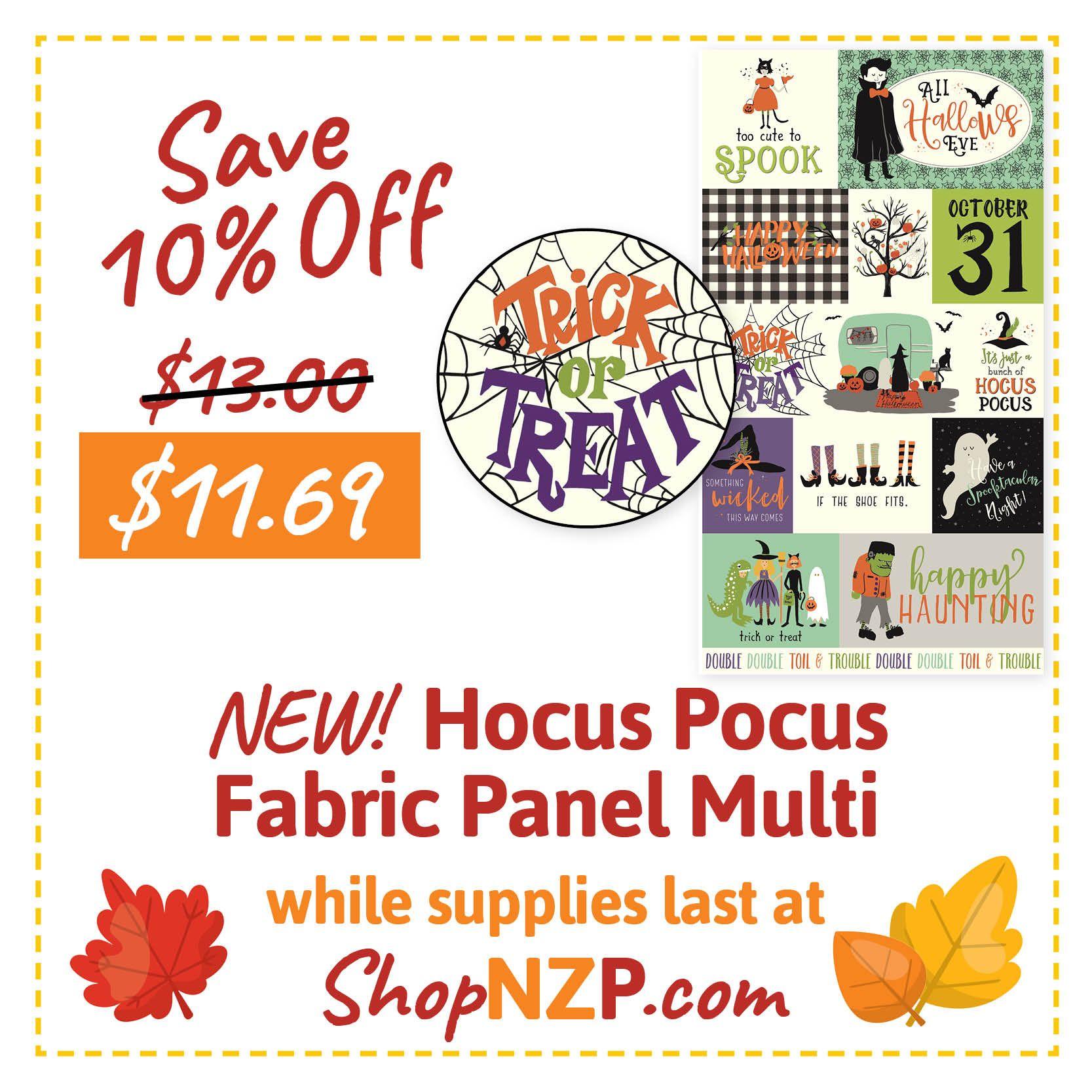Halloween Nzp 2020 SAVE 10% Off NEW! Halloween Hocus Pocus Fabric Panels  While