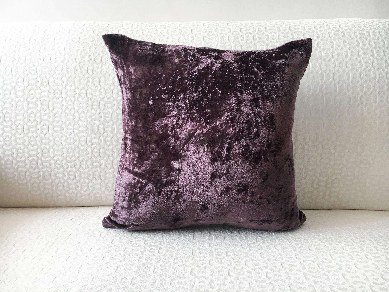 Deep Purple Silk Velvet Pillow Cover In Custom Throw Pillow Sizes