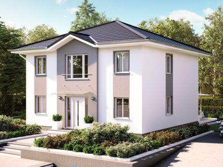 Stadtvillen villa modena putzfassade stra enansicht for Grundriss einfamilienhaus 2 vollgeschosse