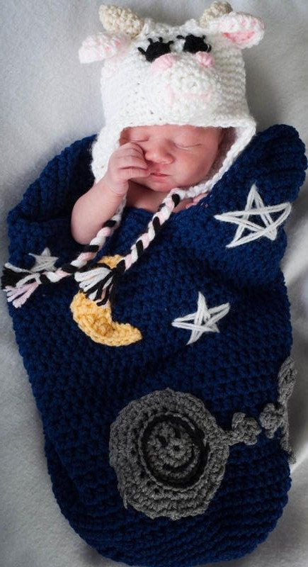 Cocoon and Beanie Crochet Pattern The Cow Jumped Over the Moon ...