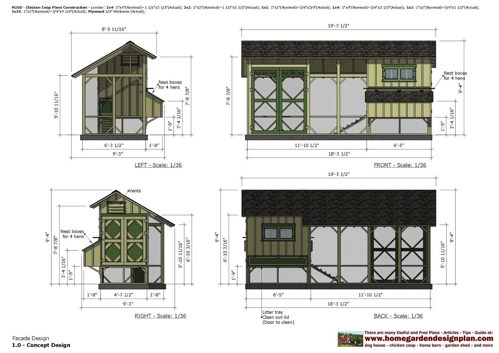 home garden plans: M200 - Chicken Coop Plans - Chicken Coop Design ...