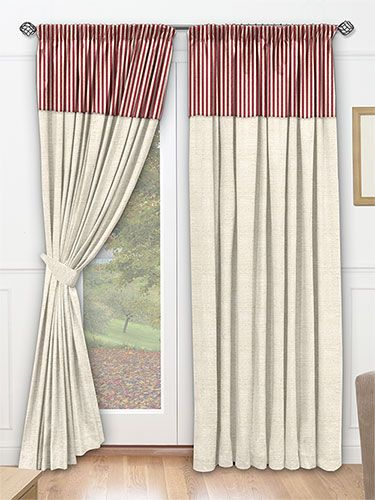 The Red Pinstripe Border Gives These Curtains A Welcome Flash Of Colour Striped Curtain Borders Bedroom Styles Curtains Home Comforts