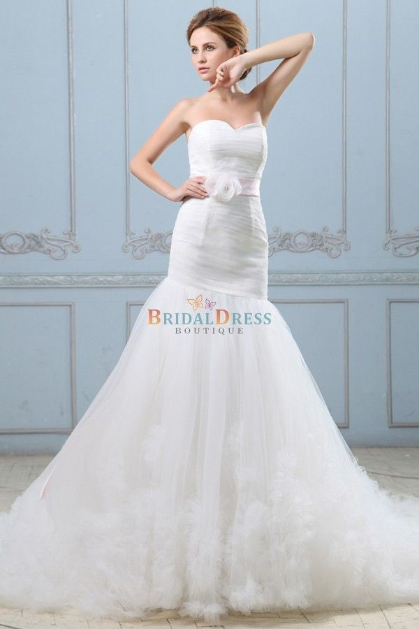Beautiful A-line Sweetheart Neckline Wedding Dress With Pink ...