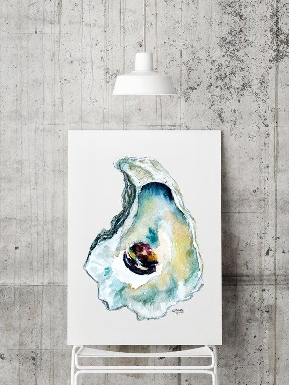 Oyster Painting, Shell Print, Oyster Art, Oyster Shell Print, Coastal Art, Watercolor Print, Sea