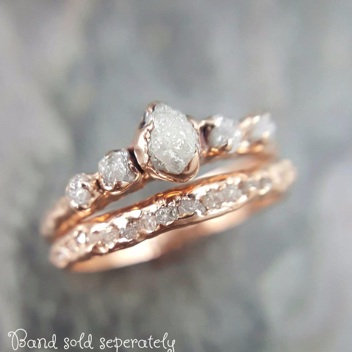 custom raw diamond rose gold multi stone engagement ring rough