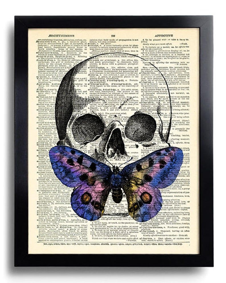 Skull Butterfly Skeleton Butterflies Art Gothic Wall Decor Etsy Butterfly Art Skull Wall Art Butterfly Poster