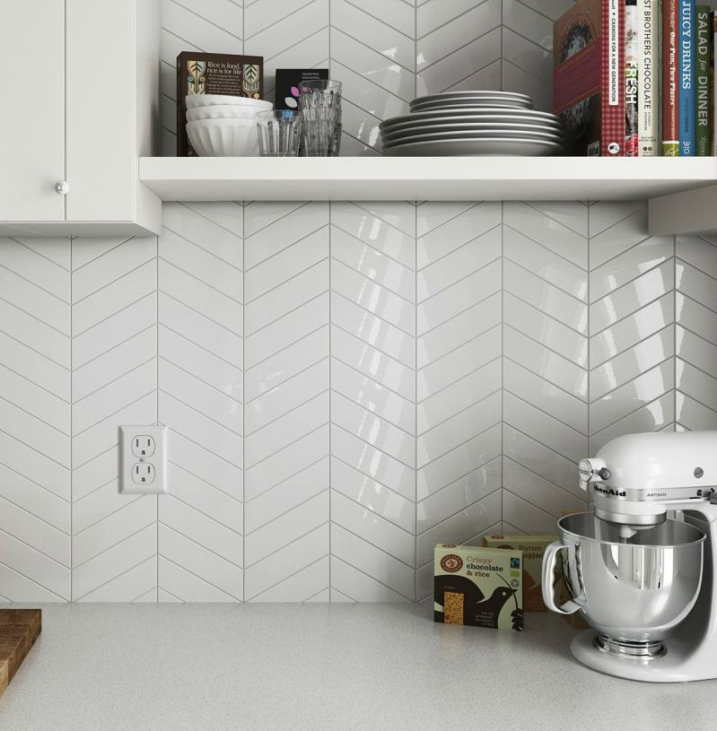 Discount Glass Tile Store Chevron Ceramic White 2 X 9