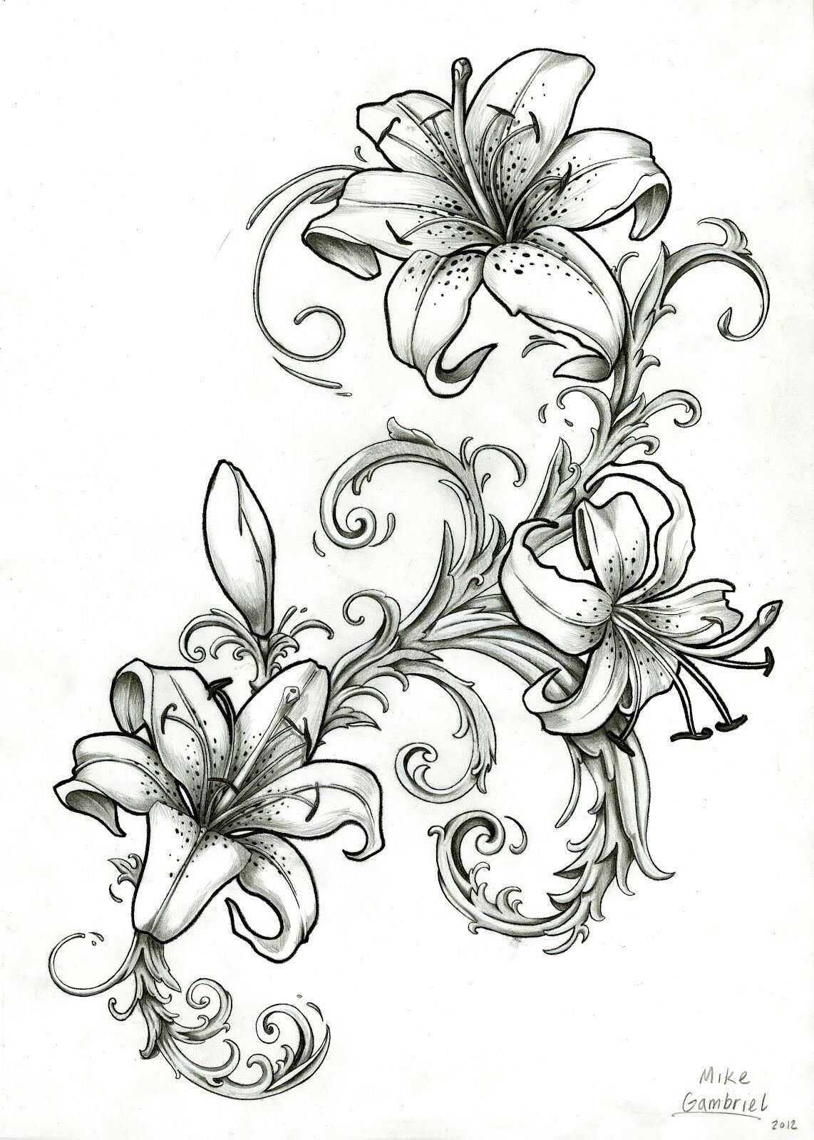 Pin by carolyn sams on tattoo pinterest tatoo and tattoo love the lilys with the filagree im thinking about peonies instead of lillys izmirmasajfo