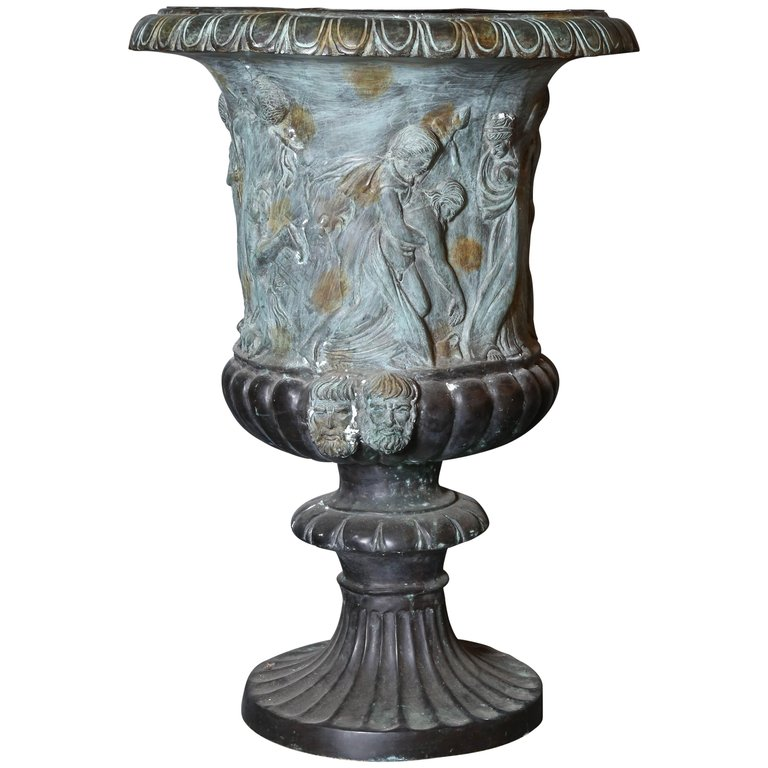 Pair Of Large Classical Cast Iron Urn With Zinc Liners Urn Bronze Antiques