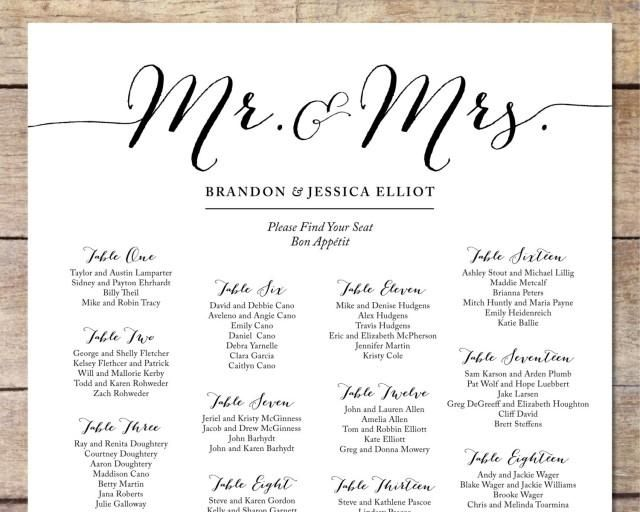 Whimsical typefaces set the tone for a glamorous Stationary - free printable seating chart