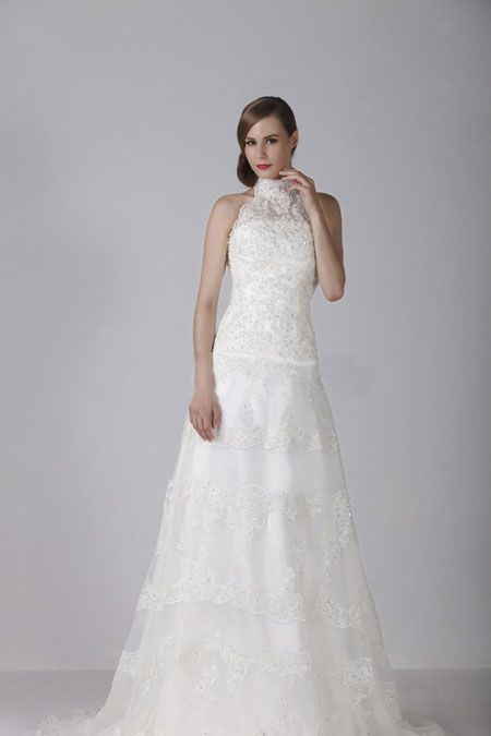 Charming A-line High Neck Lace Top Wedding Dress WAL06708-TB