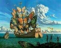 Barco con velas de mariposas