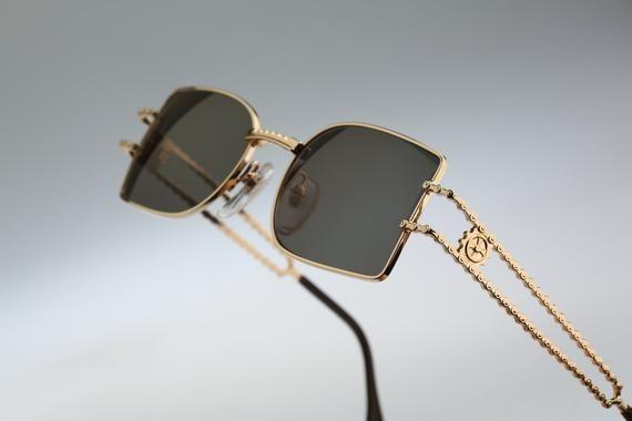 Steampunk sunglasses men, Zina Z 583 C 01, Vintage 90s unique gold rectangle sunglasses women, NOS