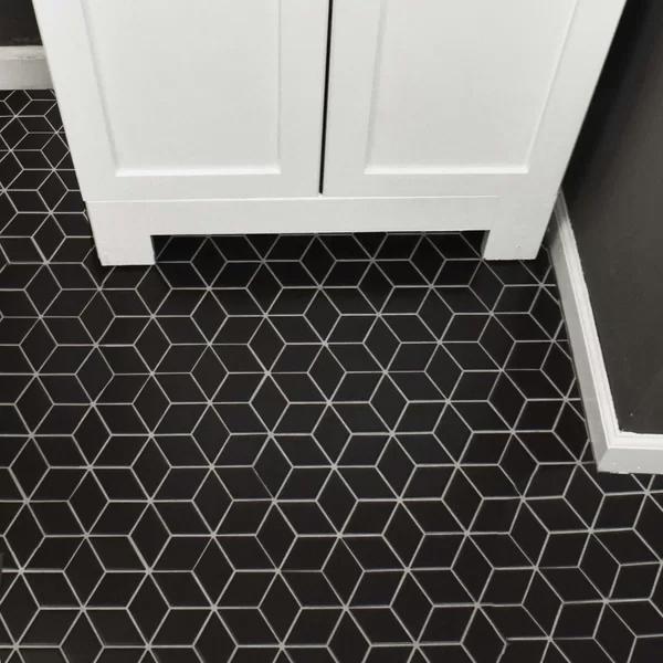 Retro Rhombus 2 X 3 Porcelain Mosaic Tile Reviews Allmodern Bathroomtile In 2020 Porcelain Mosaic Tile