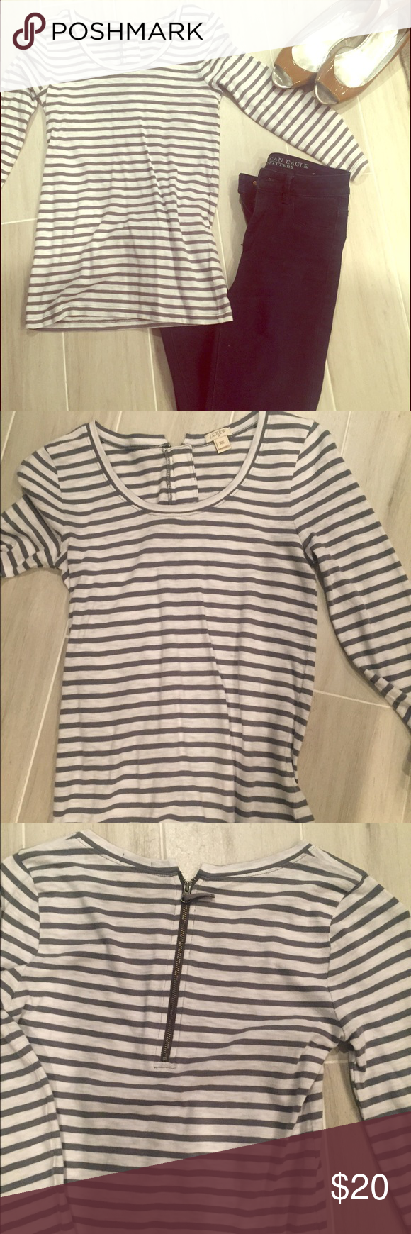Jcrew top.  Size XS Cute white with gray stripes.  Only worn once. So cute! J. Crew Tops Tees - Short Sleeve