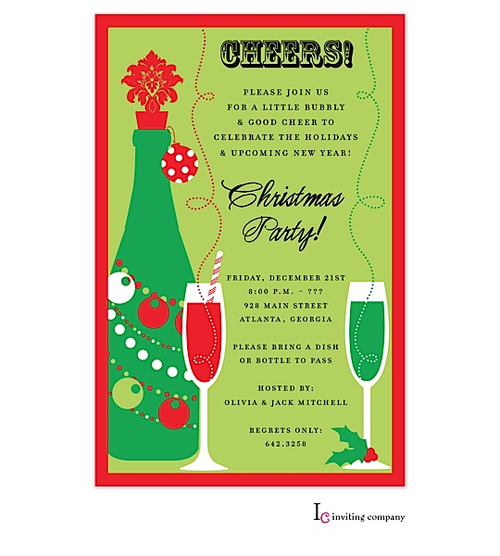 christmas cocktail party invitations christmas party invitation on green with red border