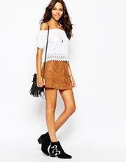 67fd166115 ASOS | ASOS Denim Dolly A-line Button Through Mini Skirt in White with Raw  Hem at ASOS