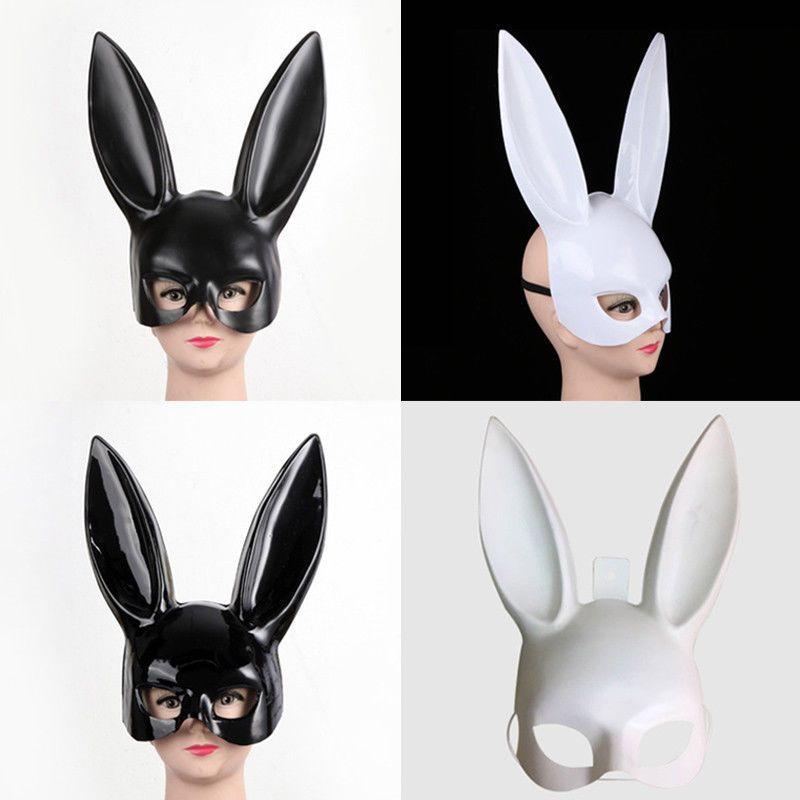 Cosplay Costume Party PP Rabbit Ears Mask Black White Halloween Decoration BU