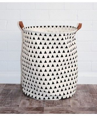 Laundry Bags With Handles Mesmerizing Triangles Canvas Storage Bin With Leather Handles  Storage Laundry Decorating Design