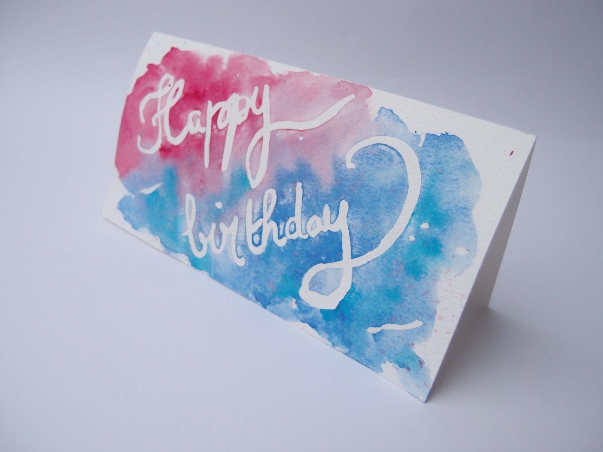 Carte D Anniversaire Happy Birthday Aquarelle Bleue Et Rouge