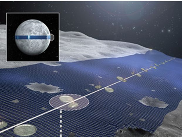 """Shimizu Corp wants to lay """"Luna Ring"""", a belt of solar panels around the equator of  the Moon in order to generate solar power..."""
