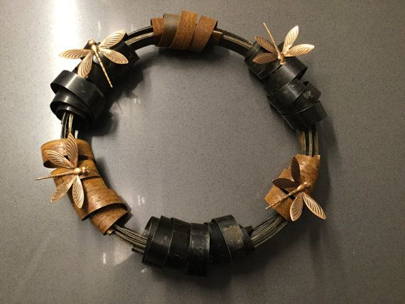 Black and rusty scrap metal wreath with by TanjaHdesign on Etsy