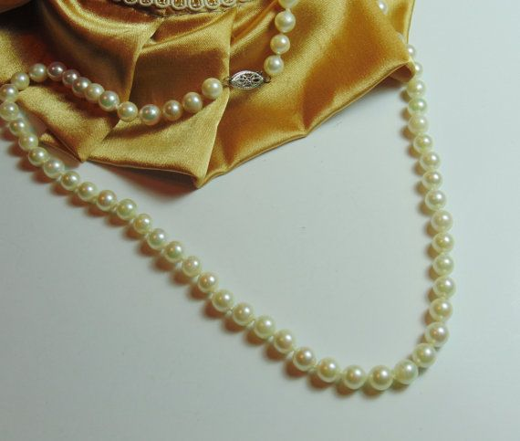 Gorgeous 16 Pearl Necklace with 14k White Gold by BuccaneerTrading, $85.00