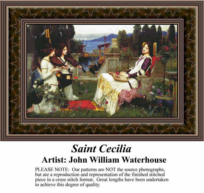 Jan Hagara Cross Stitch Patterns: Saint Cecilia, Fine Art Counted Cross Stitch Pattern Fine