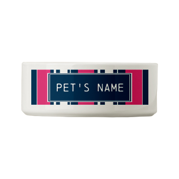 Pink and Navy Stripes Custom Small Pet Bowl