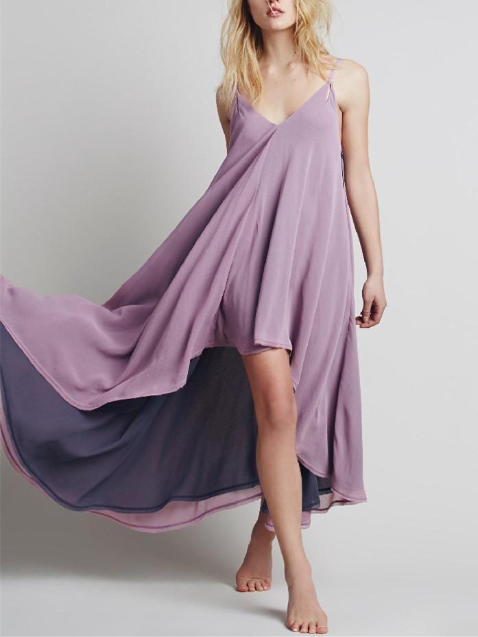 Anomalous Solid Color Straps V Neck Bohemia Beach Maxi Dress ...