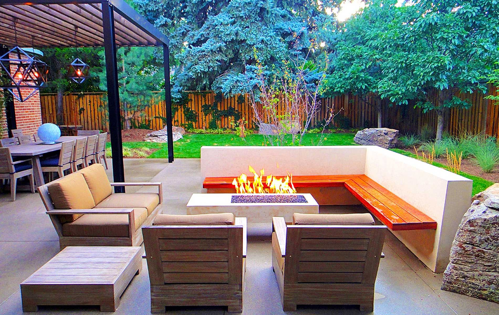 fire pit patio with pure white concrete and cantilevered
