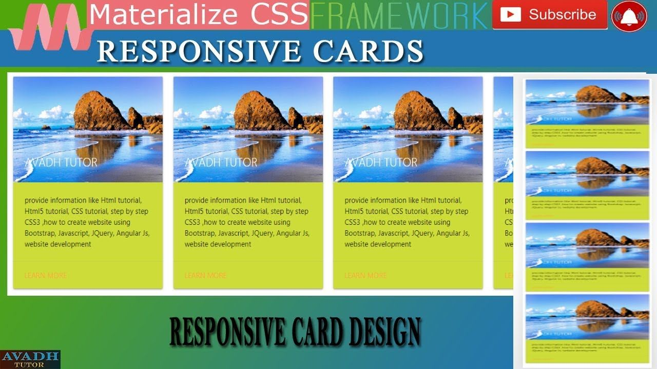 Responsive Cards Responsive Card Design For Materialize Css