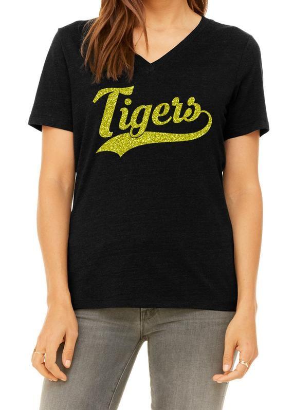 b714372a529a Glitter TIGERS Mascot Womens Shirt, Tiger Bling V-neck Tee, Ladies Sparkle  Tiger Fan Shirt, School M