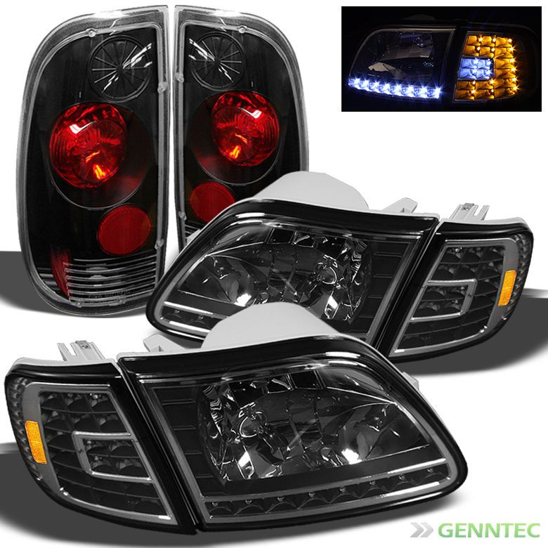 For 97 03 Ford F150 Styleside Led Black Headlights Tail Lights Lamp Head Light Black Headlights Ford F150 F150