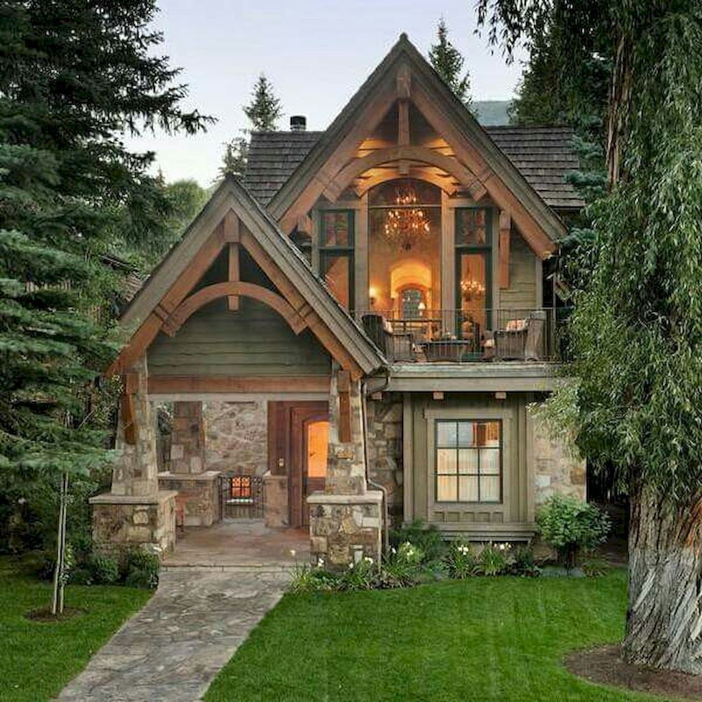 Exterior House Porch Ideas With Stone Columns 85 Homeastern Com Cottage House Exterior Small Cottage Homes Cottage Homes