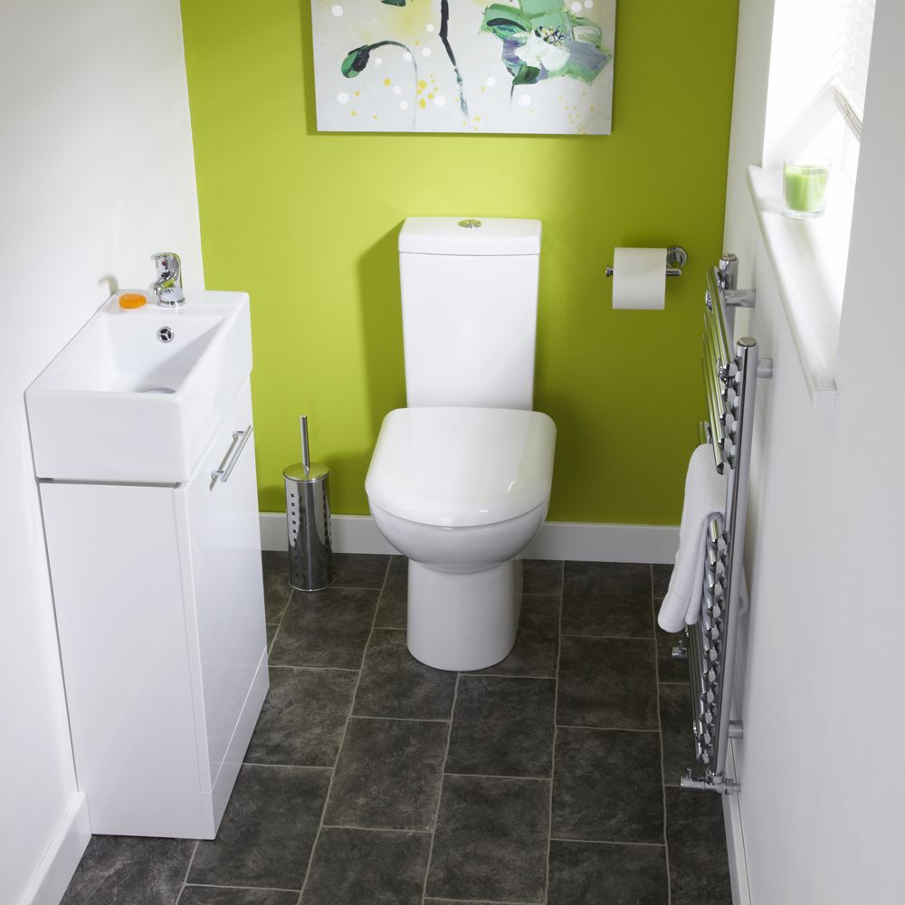 Bathroom suites for small spaces - The Milano Milos White Gloss Cloakroom Suite Is Perfect For A Small Cloakroom Or En Suite Bathroom The Modern Rectangular Pottery Basin Fits Perfectly On