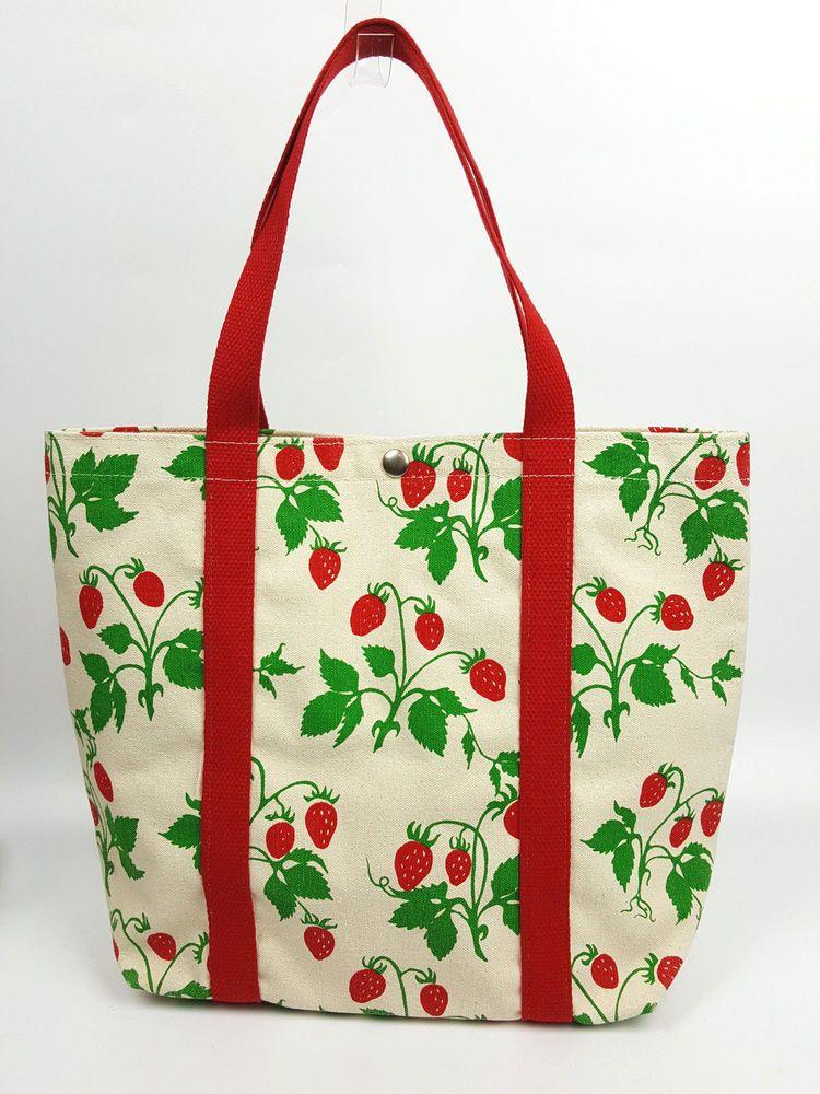 706c7ae77837 Vintage Boston Hand Print canvas tote bag bright strawberry print red green   BostonHandPrint  TotesShoppers