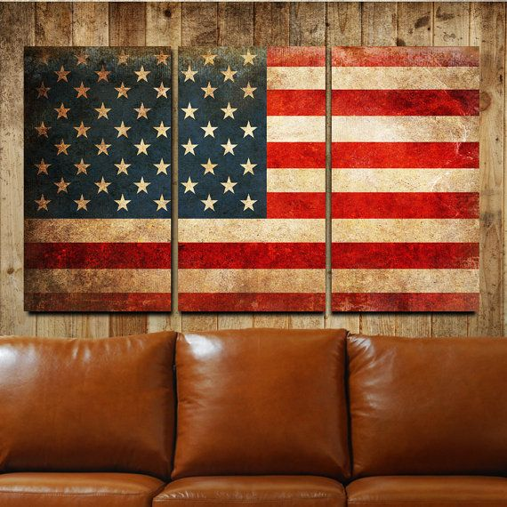 Superb American Flag Rustic Metal Wall Art Triptych By RalphBurch On Etsy