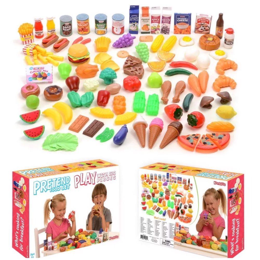 120 Piece Deluxe Pretend Play Food Set Kid Kitchen Toy Kangaroo