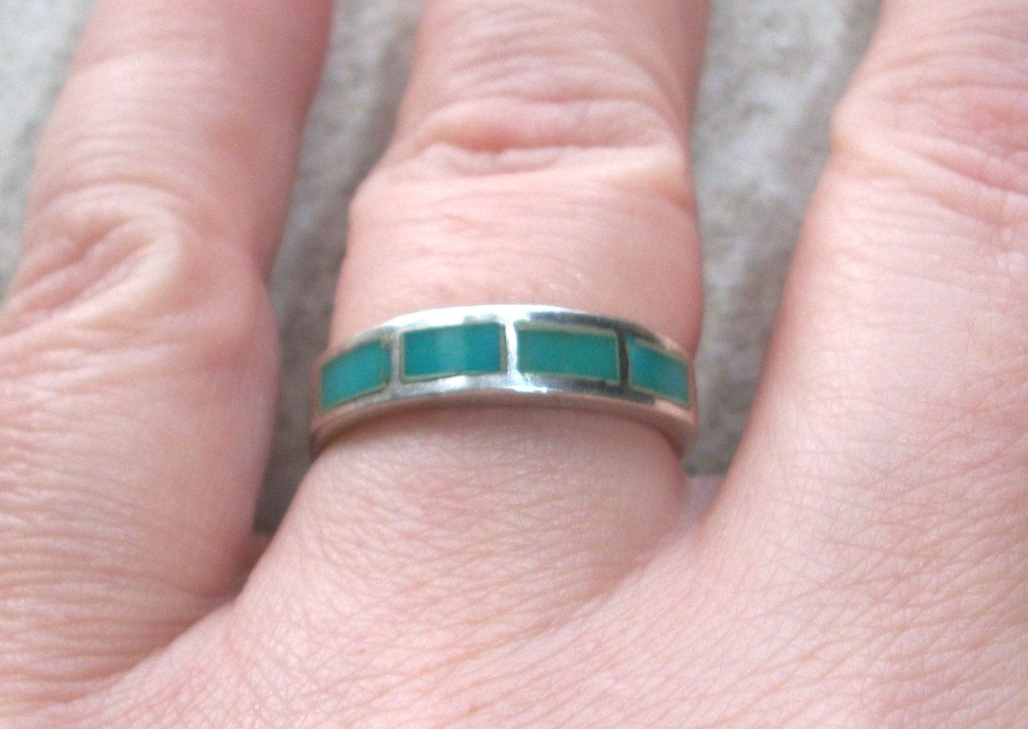 Vintage Signed Sterling Bell Trading Turquoise Inlay band ring,3.4 ...