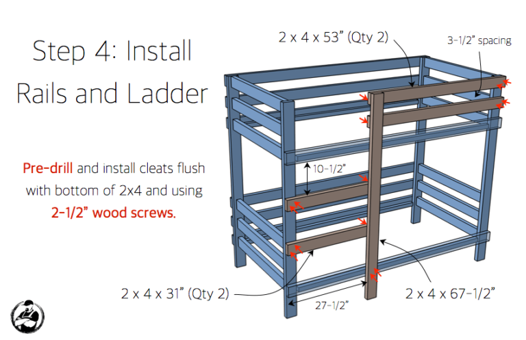 Simple Diy 2x4 Bunk Bed Plans Step 4