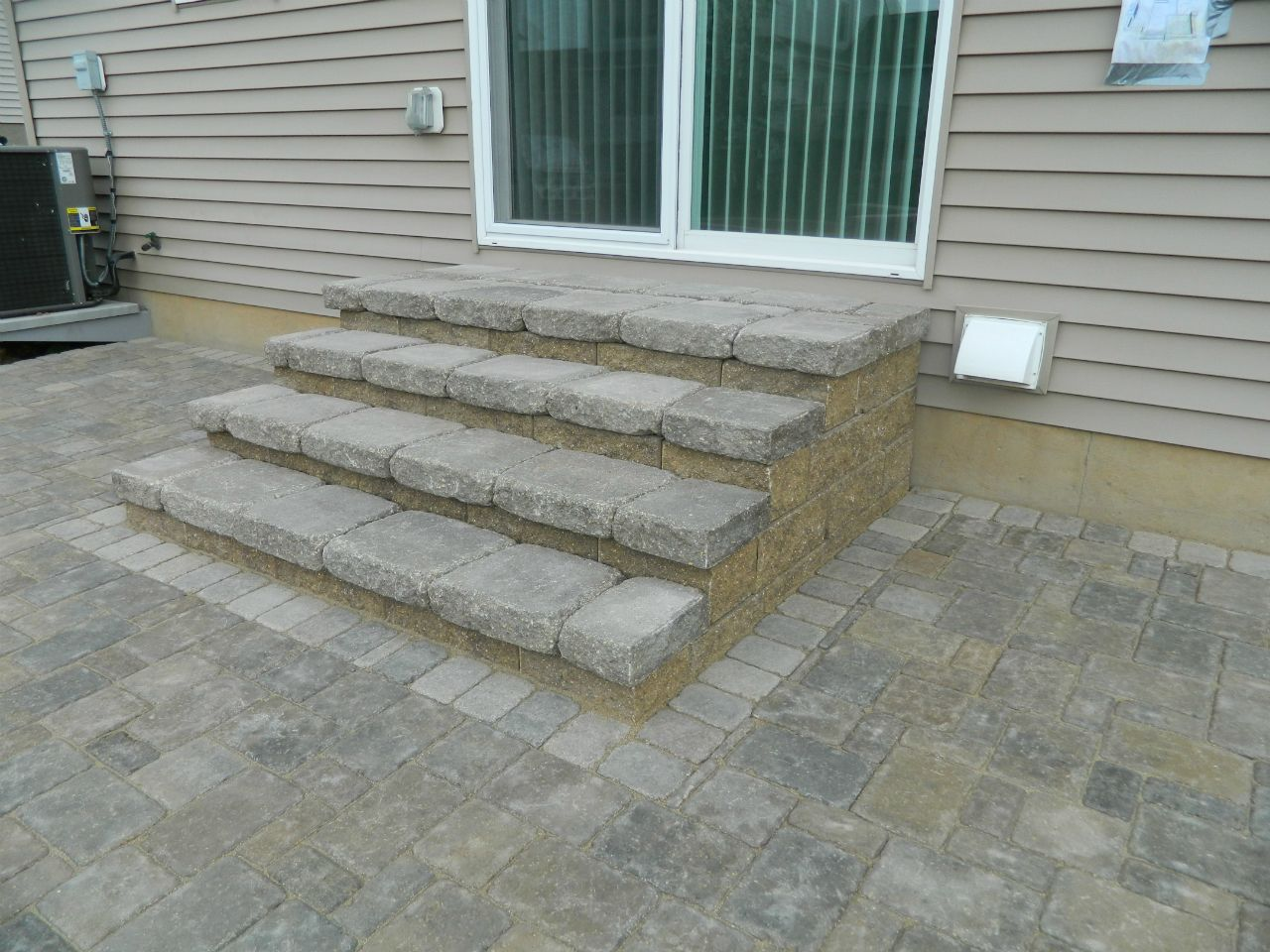 Exterior, : Classy Outdoor Floor Decoration With Paver Patio Step Paving  Block Along With Paver Patio Step Front Porch Staircase And Glass Double  Front Door